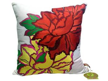Reme Embroidered Floral Cushion Cover