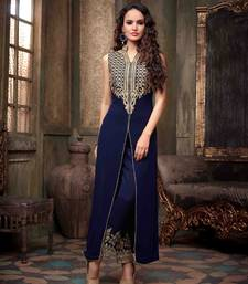 Buy Blue embroidered Gerogette semi stitched salwar with dupatta collar-neck-design online