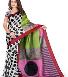 Buy BLACK PRINTED BHAGALPURI SILK SAREE WITH BLOUSE printed-saree online