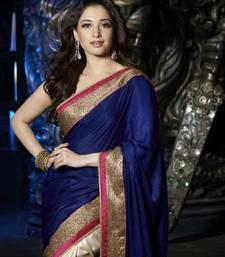 Buy Blue embroidered silky velvet saree with blouse tamanna-bhatia-saree online