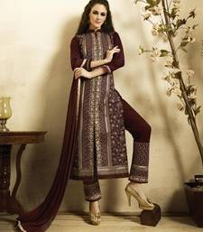 Buy Brown embroidered Pure Cotton unstitched salwar with dupatta dress-material online