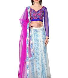 Buy Off-white Net fusion Lehenga With Embroidred Choli and Net Dupatta lehenga-choli online
