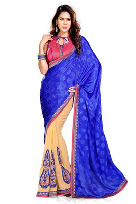 Blue And Beige embroidered chiffon saree with blouse