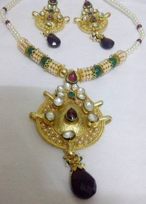 Pearl and Kundan Meena Set