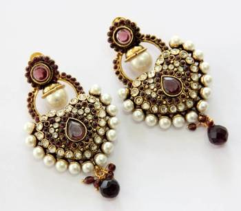 ANTIQUE GOLD PLATED PURPLE N WHITE PEARLS HANGINGS
