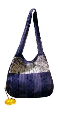 Luscious Blue colour sequined jhola bag