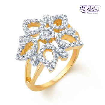 Sukkhi Glistening Gold and Rhodium Plated CZ rings(171R780)