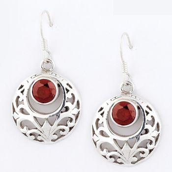 Fine Jaali Cut Pair Of Silver Earrings With Garnet_20