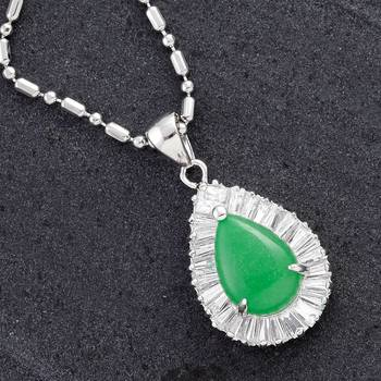 Tear drop Agate and CZ Silver pendant