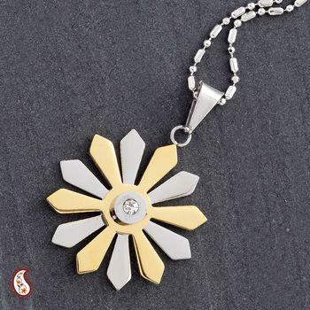 Sunflower Pendant with Gold Polish