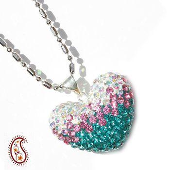 Tricolour Crystal Heart Pendant