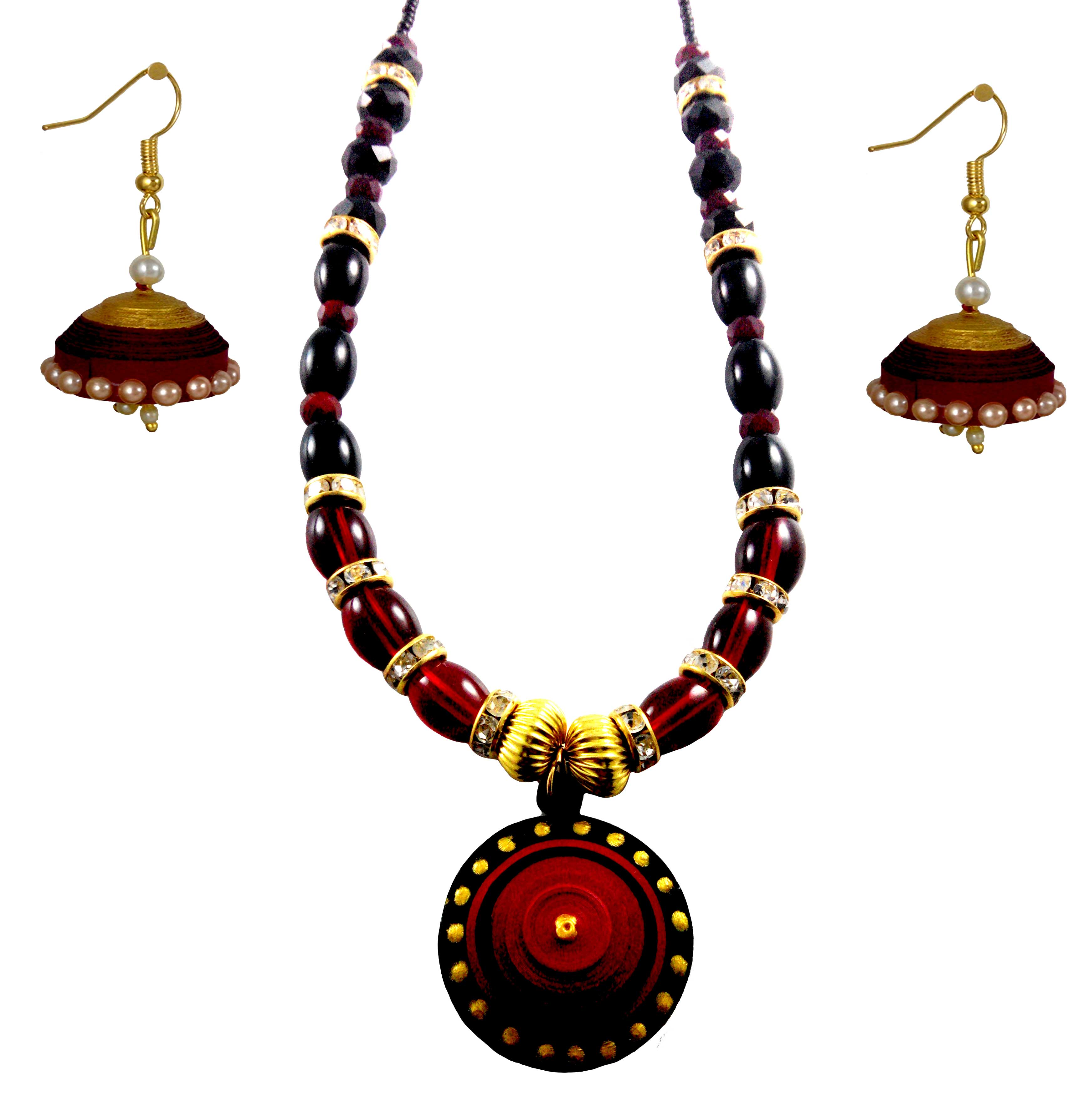 Buy Handmade Paper Jewellery and Quilling Necklace Set Online