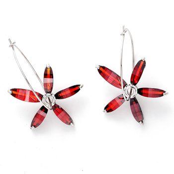 Bohemian Red Crystal Hoop Earrings