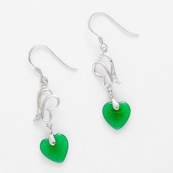 Green Agate Heart Stud Earring