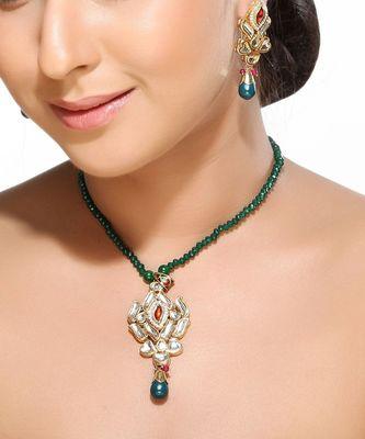 White Kundans CZ , Onyx and Emerald Pendant Set