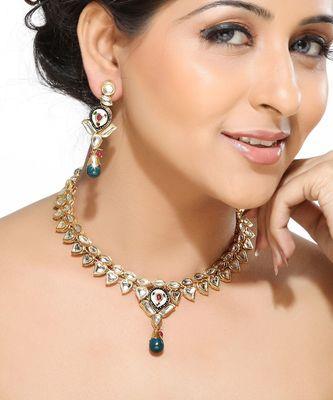Meenakari Kundans and Emerald Necklace Set