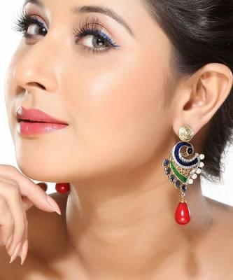 Pearl, Enamel, Sapphires, CZ and Coral Earrings