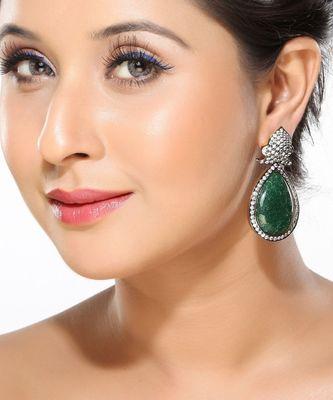 CZ and Green uncut Onyx Fashion Earrings