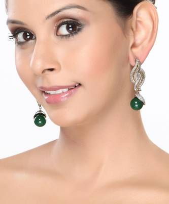 Emerald beads and white CZ dangler earrings