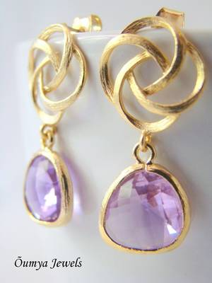 18K Gold Plated Design with Lavender Color Drop Fashion Earrings