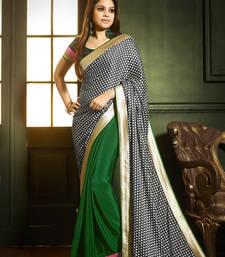 Buy Green and Black printed satin saree with blouse bollywood-saree online