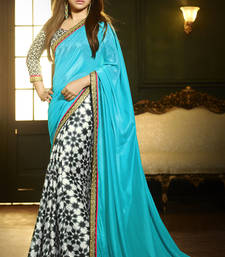 Buy Blue and Black printed crepe saree with blouse bollywood-saree online