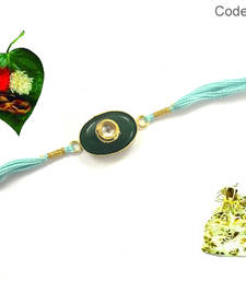 Buy Kundan Designer Semi precious  Rakhi send-rakhi-to-usa online