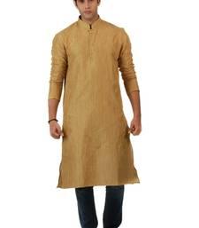 Buy Gold Blended Khadi men-kurtas men-kurta online