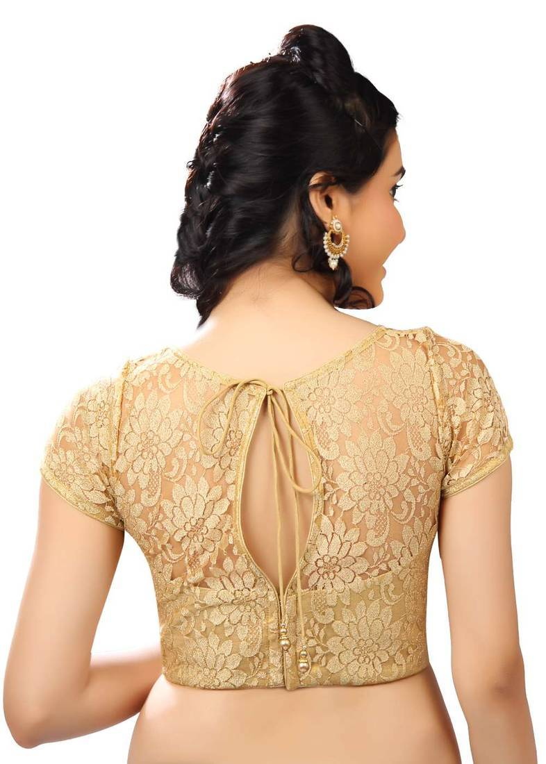 Buy gold net readymade blouse online for Net designs