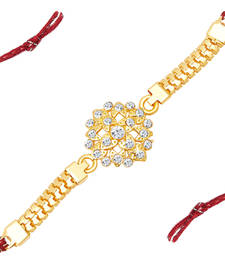 Buy Delightly Gold Plated AD Bracelet Rakhi rakhi-online online