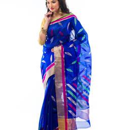 Buy Dark Blue hand_woven chanderi saree with blouse chanderi-saree online
