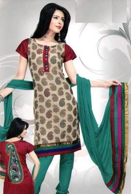 Cotton salwar kameez material - printed & embroidered - riyaa 902546