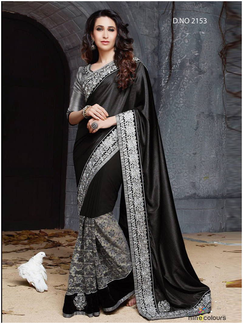 Buy Black And Silver Embroidered Georgette Saree With