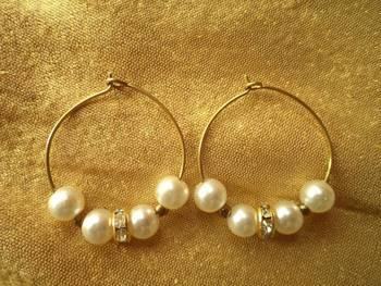 White Goden Hoop Earrings