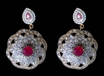 Handmade ethnic statement Flower Earrings with Ruby red