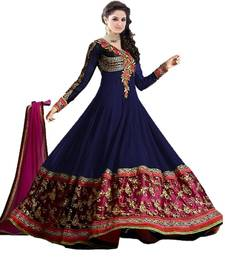 Buy Navy blue and purple embroidered georgette semi stitched salwar with dupatta party-wear-salwar-kameez online