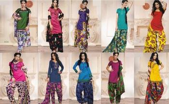 Set Of 10 Elegant Silk Cotton Patiyala Set With Stitched Bottom