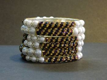 Sparkly Purple/Green Bangles with White Pearl