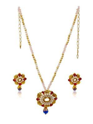 Kshitij Attractive Blue Drop Necklace Set