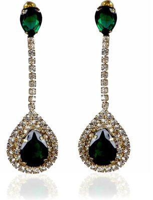 Kshitij Jewels Crystal Stone Studded Long Earrings - Green