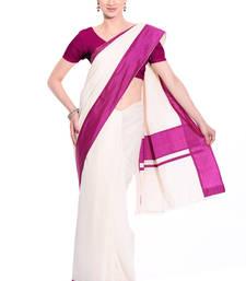 Buy white woven cotton saree with blouse kerala-saree online
