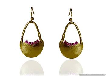 Kshitij Jewels Pink Stone Studded Golden Basket Earrings