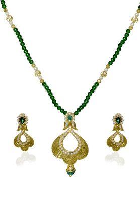 Kshitij Jewels Designer Pearl Studded Golden Necklace Set