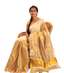 Buy off-white and golden  cotton saree with blouse black-friday-deal-sale online