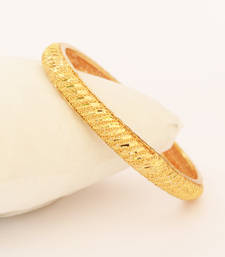 Buy Gold plated Bangle with shiny cuts bangles-and-bracelet online