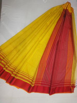yellow embroidered maheshwari saree with blouse