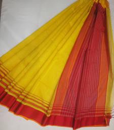 Buy yellow embroidered maheshwari saree with blouse maheshwari-saree online