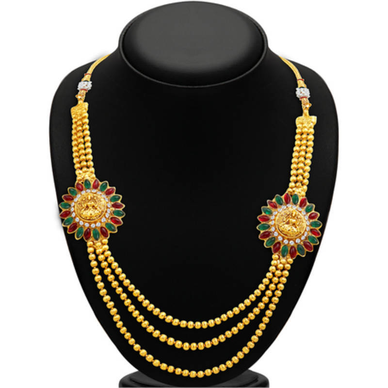 Buy Classy Three Strings Temple Jewellery Gold Plated Necklace Set ...