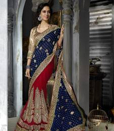 Buy BLUE and RED embroidered viscose_rayon saree with blouse party-wear-saree online
