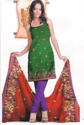 Just Women - Dark Green Unstitched Satin Salwar Suit